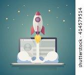 vector background with rocket... | Shutterstock .eps vector #414579514