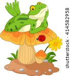 cartoon frog laying down on a... | Shutterstock .eps vector #414582958