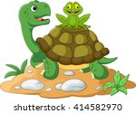 Stock vector cartoon turtle and frog 414582970