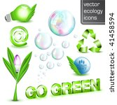 Go Green - Shiny 3D ecology elements - stock vector