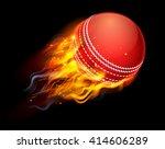 a flaming cricket ball on fire... | Shutterstock . vector #414606289