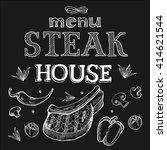 steak house menu. steak drawn... | Shutterstock .eps vector #414621544