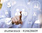 businessman touch button... | Shutterstock . vector #414628609