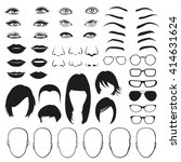 Woman face parts, eye, glasses, lips and hair, head. Vector illustration set