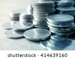 rows of coins for finance and... | Shutterstock . vector #414639160