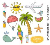 summer time set. vacation theme ... | Shutterstock .eps vector #414640594