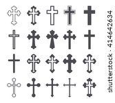 cross icons set. decorated... | Shutterstock .eps vector #414642634