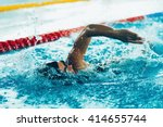 freestyle swimming competitor... | Shutterstock . vector #414655744