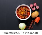 beef massaman curry top view on ...   Shutterstock . vector #414656458
