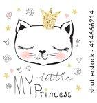 cute  little princess cat girl | Shutterstock .eps vector #414666214