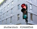 Red Traffic Light In Downtown...