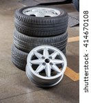 Small photo of Tires And Alloy At Auto Repair Shop