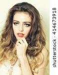 beautiful woman with long... | Shutterstock . vector #414673918