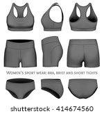 women's sport wear  crop top ... | Shutterstock .eps vector #414674560