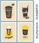 posters with coffee cup  glass... | Shutterstock .eps vector #414688924