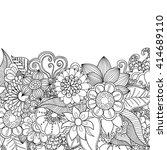 flowers and leaves zentangle... | Shutterstock .eps vector #414689110