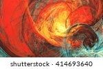 flaming sun. abstract painting... | Shutterstock . vector #414693640