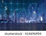 trading graph on the cityscape... | Shutterstock . vector #414696904