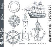 hand drawn nautical... | Shutterstock .eps vector #414701524
