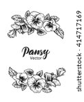 frame with hand drawn pansy... | Shutterstock .eps vector #414717169