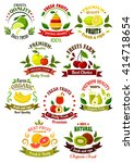 farm fruits retro icons  with... | Shutterstock .eps vector #414718654
