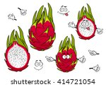 exotic pitaya fruits cartoon...