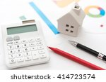 house and calculator on... | Shutterstock . vector #414723574
