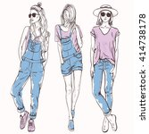 vector set with trendy girls.... | Shutterstock .eps vector #414738178
