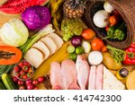 table full of all kinds of food ... | Shutterstock . vector #414742300