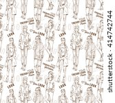 fashion pattern with words ... | Shutterstock .eps vector #414742744