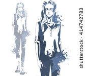 portrait of trendy look girl.... | Shutterstock .eps vector #414742783