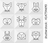 front view animal heads.... | Shutterstock .eps vector #414754690