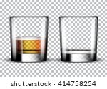 empty whiskey glass and full... | Shutterstock .eps vector #414758254