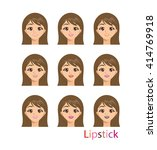 vector set of cute girl with... | Shutterstock .eps vector #414769918