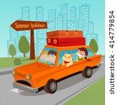 travel by car. family summer... | Shutterstock .eps vector #414779854