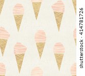 Seamless ice-cream come pattern on paper texture. Watercolor background