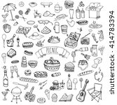 hand drawn doodle picnic icons... | Shutterstock .eps vector #414783394