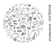 hand drawn doodle picnic icons... | Shutterstock .eps vector #414783418