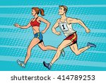 man woman athletes running... | Shutterstock .eps vector #414789253