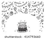 birthday party elements vector...