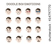 vector cute doodle boy heads... | Shutterstock .eps vector #414797770