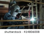 worker wearing a protective... | Shutterstock . vector #414806008