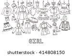 girl fashion wear hangin on... | Shutterstock .eps vector #414808150