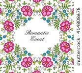 colorful flower design frame.... | Shutterstock .eps vector #414808678