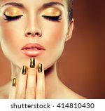 Girl Model With  Golden Makeup...