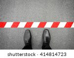 black shoes standing at the red ... | Shutterstock . vector #414814723