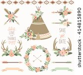 wedding floral teepee tribal set | Shutterstock .eps vector #414815890
