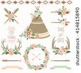 wedding floral teepee tribal set | Shutterstock .eps vector #414815890