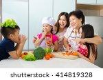 asian three generations family... | Shutterstock . vector #414819328