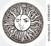bohemian hand drawn sun and... | Shutterstock .eps vector #414846640